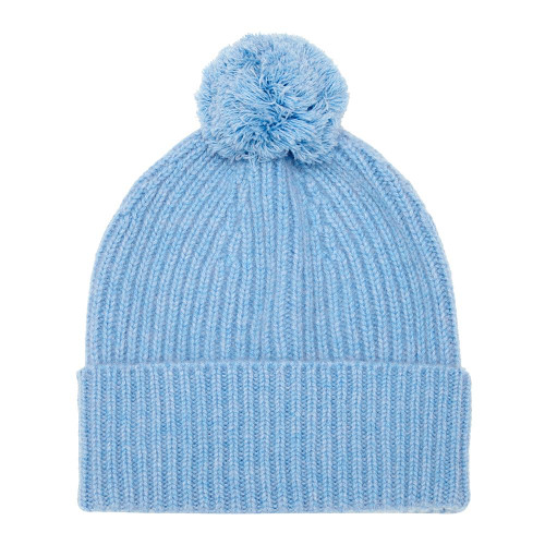Cashmere Bobble Hat, Blue
