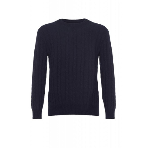 Cashmere Cable Jumper, Navy