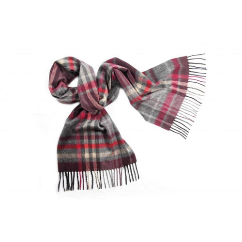 Cashmere Check Scarf, Grey