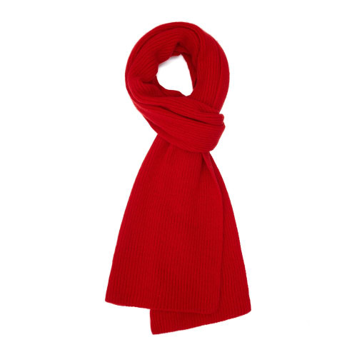 Cashmere Ribbed  Scarf, Red