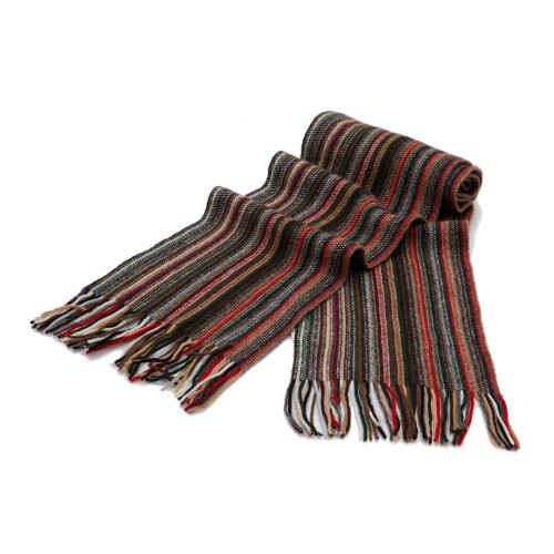 Cashmere 1ply Striped Scarf, Red