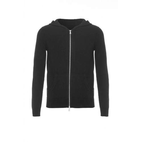 Cashmere Hoodie with Zip, Black