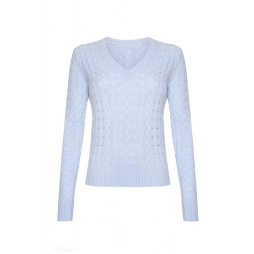 Cashmere Cable V Neck Jumper, Baby Blue