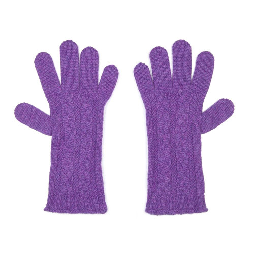 Cashmere Cable Gloves, Purple