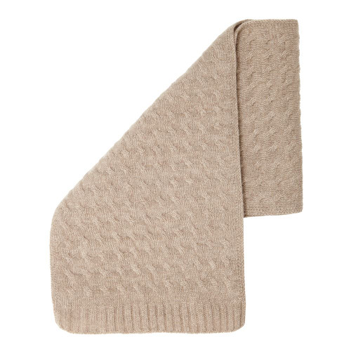 Cashmere Cableknit Scarf, Beige