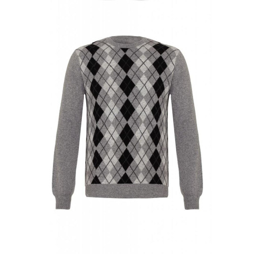 Cashmere Argyle Round Neck Jumper, Grey