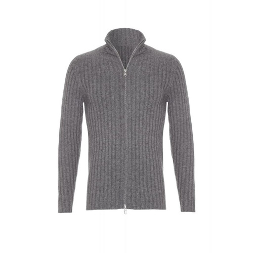 Ribbed Cashmere Zip Up, Grey