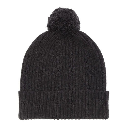 Cashmere Bobble Hat, Black