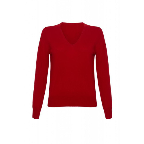 Cashmere V Neck Jumper, Red