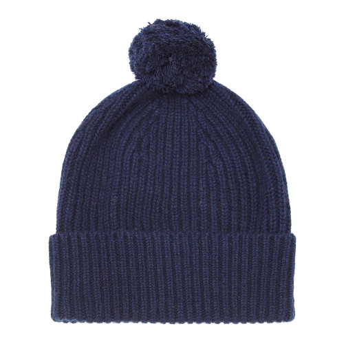 Cashmere Bobble Hat, Navy