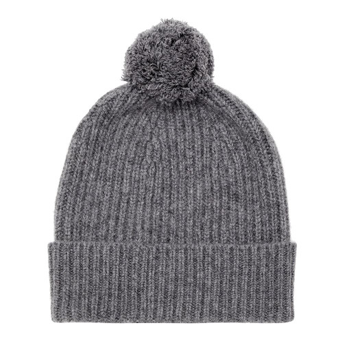Cashmere Bobble Hat, Charcoal