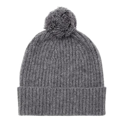 Cashmere Bobble Hat, Charcoal