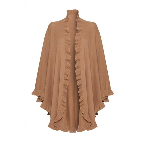 Cashmere Frilly Cape, Beige