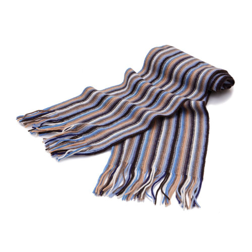 Cashmere 1ply Striped Scarf, Beige