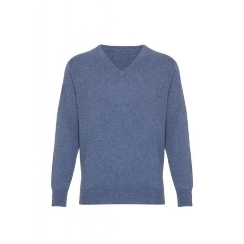 Cashmere  V Neck  Jumper, Denim