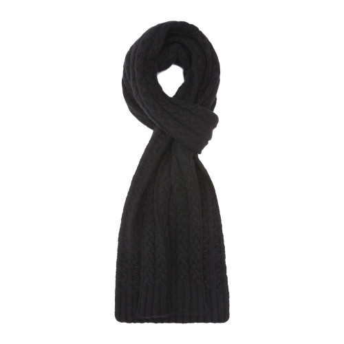 Cashmere Cable Scarf, Black