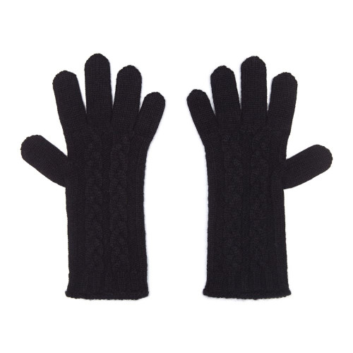 Cashmere Cable Gloves, Black