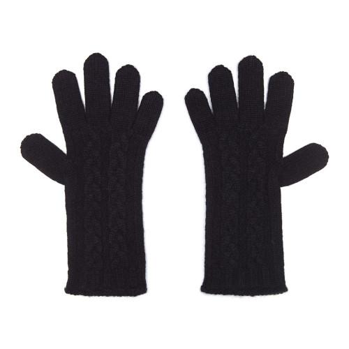 Cashmere Cable Gloves, Black