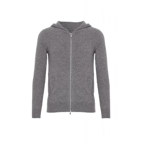 Cashmere Hoodie with Zip, Grey