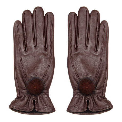 Leather Gloves with Fur Pompom, Brown