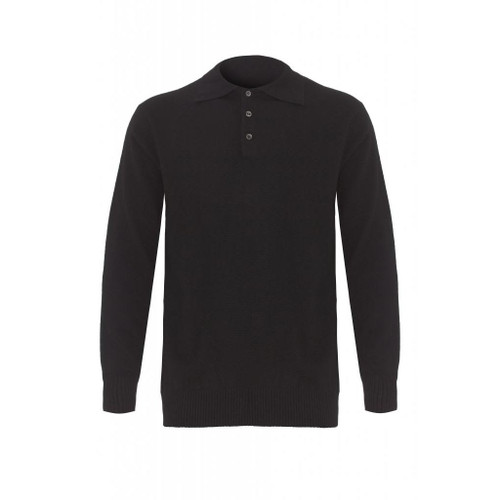 Cashmere Polo Jumper, Black