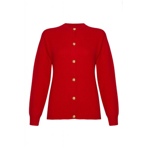 Cashmere Golfer Cardigan, Red