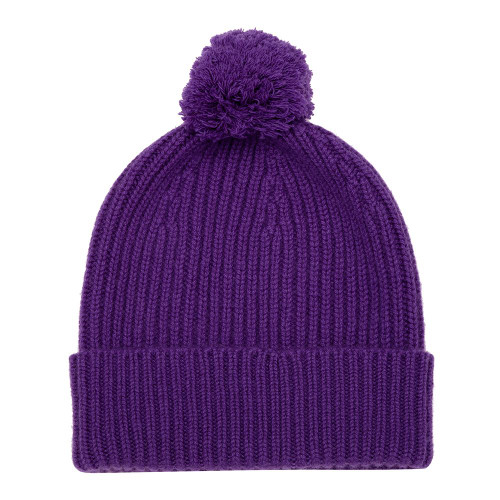 Cashmere Bobble Hat, Purple