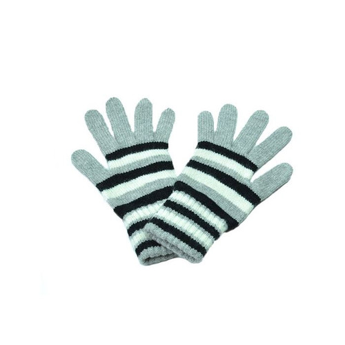 Striped Cashmere Gloves, Grey