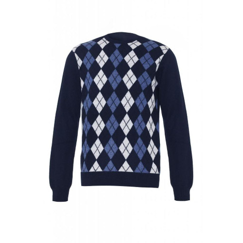 Cashmere Argyle Round Neck Jumper, Mens, Navy
