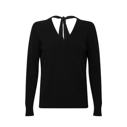 Ribbon Neck Jumper, Black