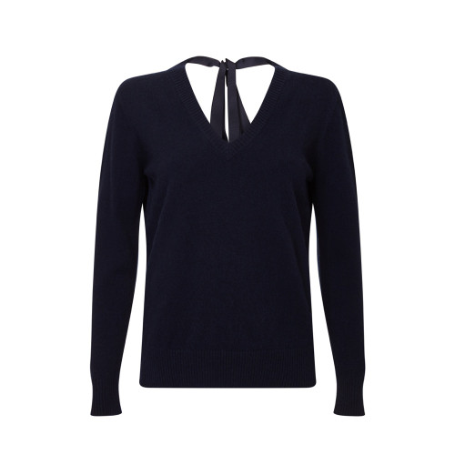 Ribbon Neck Jumper, Navy