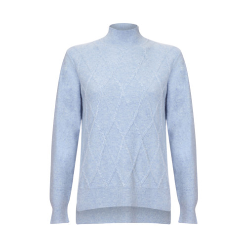 Argyle Turtle Neck, Powder Blue