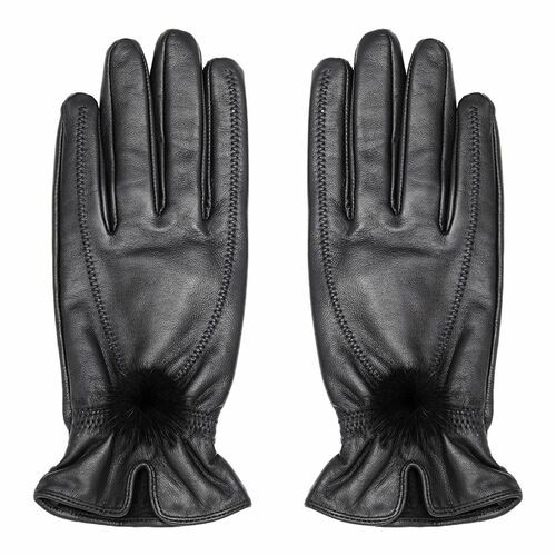 Leather Gloves with Fur Pompom