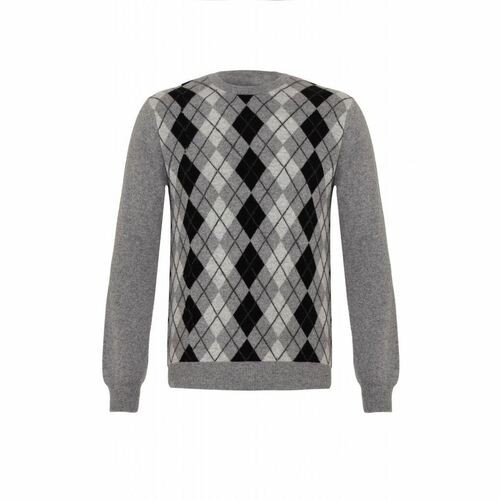 Cashmere Argyle Round Neck Jumper - Men