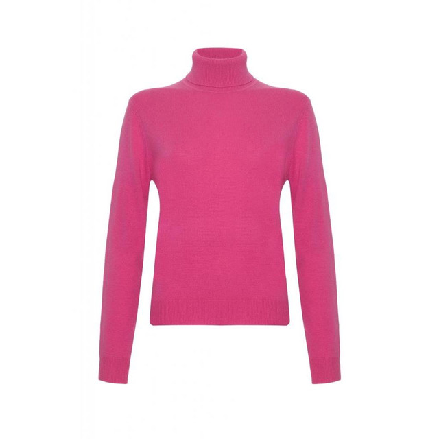 Cashmere Polo Neck Jumper, Pink