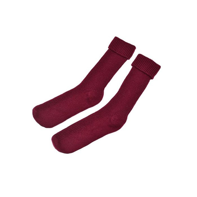 Cashmere Ribbed Bedsocks, Maroon