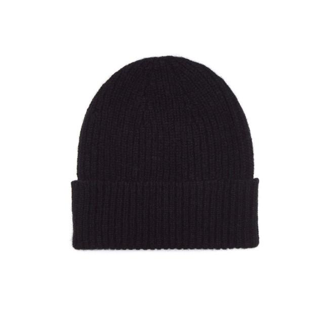 Mens Cashmere Beanie Hat, Black