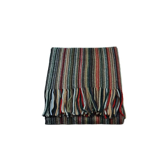 Cashmere 2 Ply Striped Scarf, Red