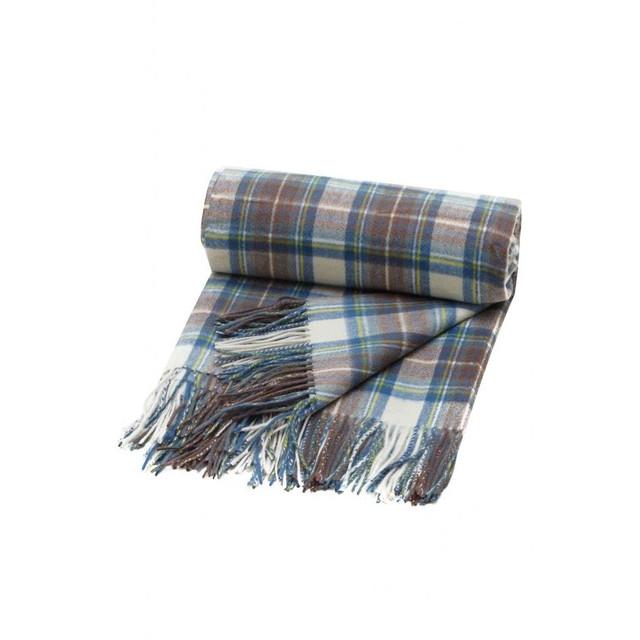 Pure Cashmere Tartan Blanket,  Muted Blue Stewart