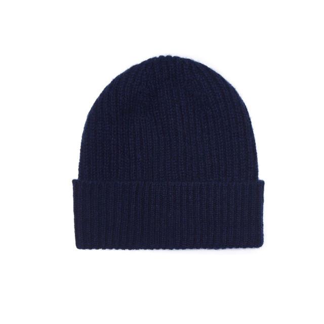 Mens Cashmere Beanie Hat, Navy