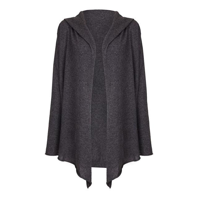 Ladies Hooded Cardigan, Charcoal