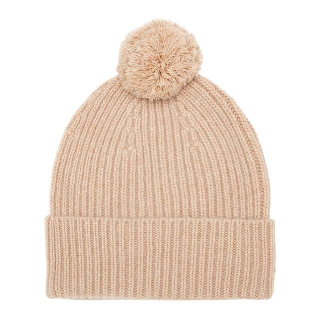 Cashmere Bobble Hat, Beige