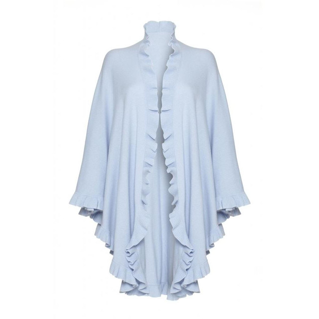 Cashmere Frilly Cape, Baby Blue