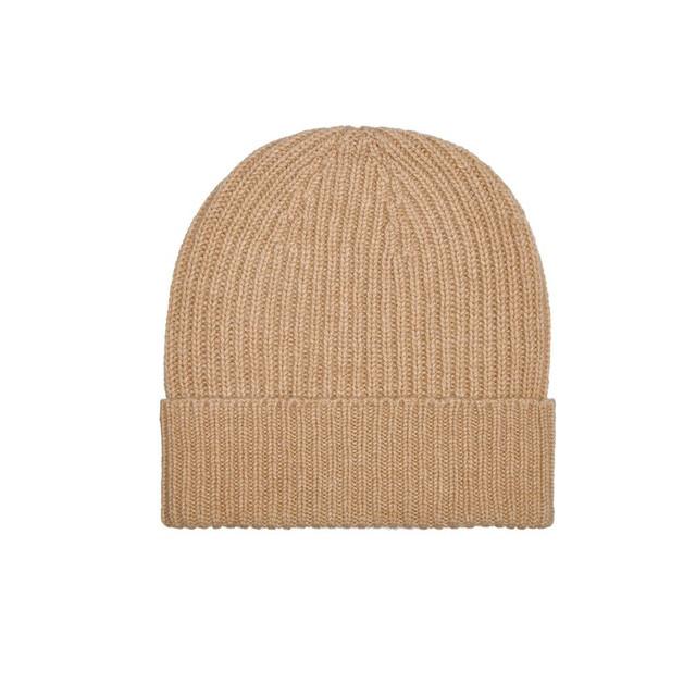 Mens Cashmere Beanie Hat, Beige