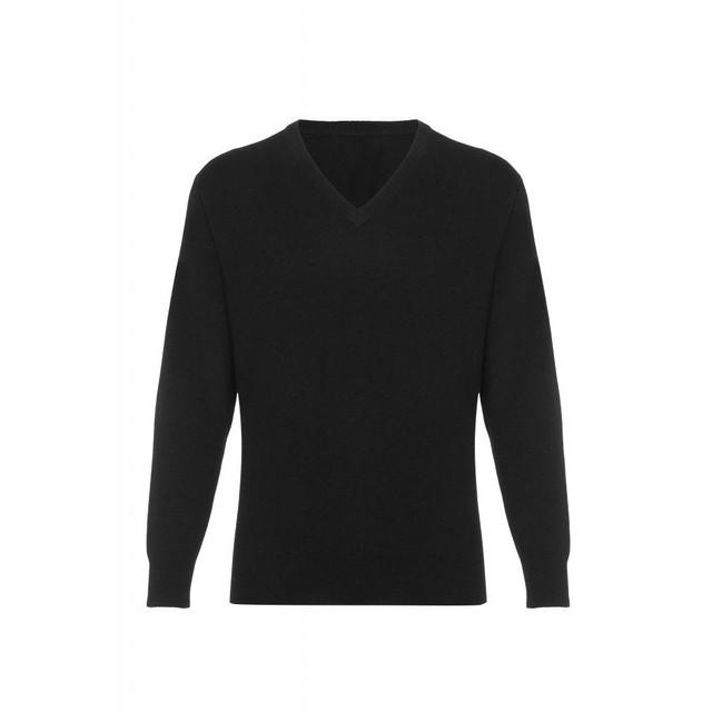 Cashmere  V Neck  Jumper, Black