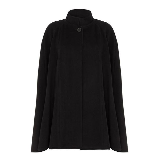 Cashmere Blended Cape, Black