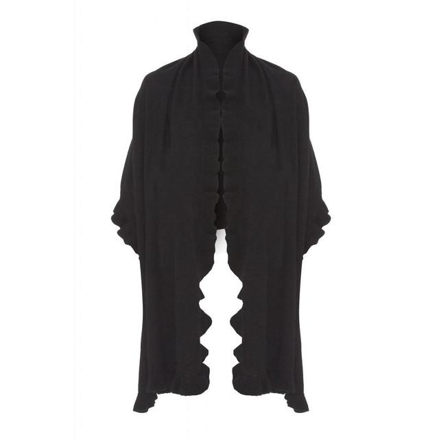 Cashmere Frilly Wrap, Black