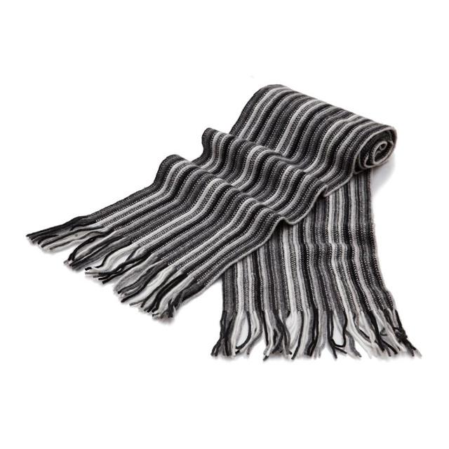Cashmere 1ply Striped Scarf, Black