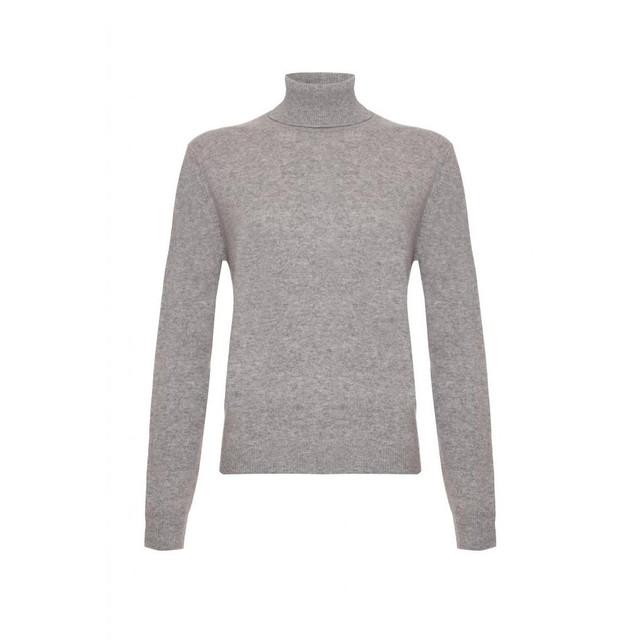 Cashmere Polo Neck Jumper, Grey
