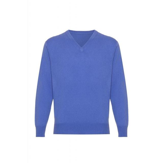 Cashmere  V Neck  Jumper, Mens, Electric Blue